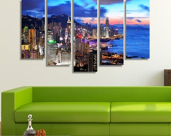 City Skyline, Hong Kong Print, Hong Kong Art, Sunset Wall Art, Large Canvas, Large Canvas Art, Wall Hanging, City Skyline Prints
