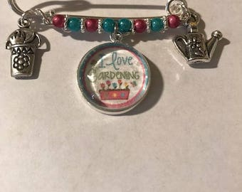 """Gardening Kilt Pin,Free Shipping,Photo Charm """"I Love Gardening"""" Water Can, Pouch of Tools with Pink,Turquoise Beads.Great Gift For Gardener"""