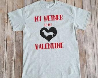 Weiner dog valentine shirt - funny valentine shirt - daschund shirt - doxie valentine shirt