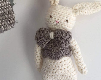 SALE plush rabbit, ready to ship, acrylic wool rabbit doll