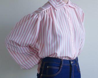 Pink Candy Stripe High Collar Shirt