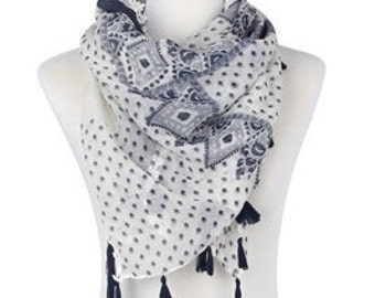 White Square Floral Scarf / Spring Scarf / Summer Scarf / Womens Scarf / Gift For Her / Fashion Wrap Shawl Accessories