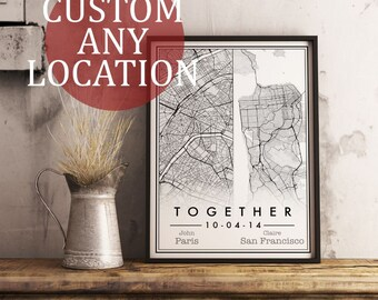 Wedding Gift. Custom Map Art. Any Location. Personalised Map Art. Dual Location Design. City Map Art. Wedding Present.