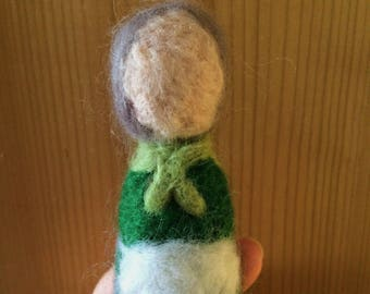 Handmade felted little lady crone