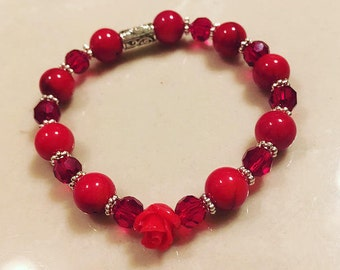 Painted red bamboo bracelet