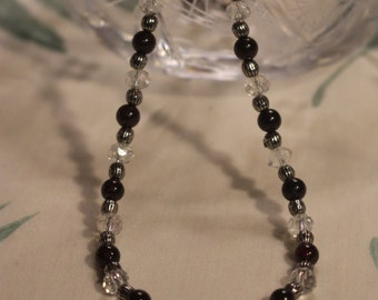 Garnet, crystal and silver bead necklace