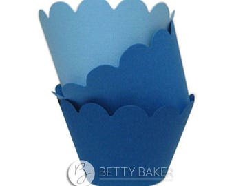 Cupcake Wrappers Trio - Shades of Blue. Decorate your Finished Cupcakes - Pack of 12 Wrappers