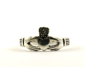 Vintage Ireland Claddagh Heart In Hands Ring 925 Sterling Silver RG 342-E