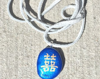 Double Happiness - Hand Painted Pebble Pendant