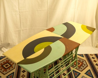 Upcycled Clothes Airer Table With Handpainted abstract art Top