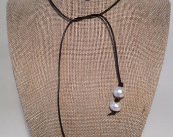 Leather and Pearl Lariat by JL Jewelry & Novelties