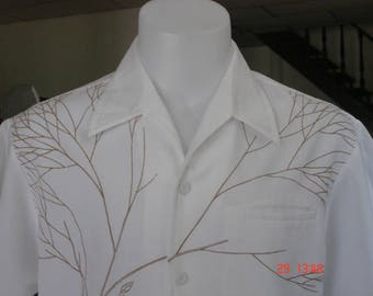 162- Iolani Aloha Hawaiian shirt Large? Made in Hawaii white brown hidden style pocket excellent condition