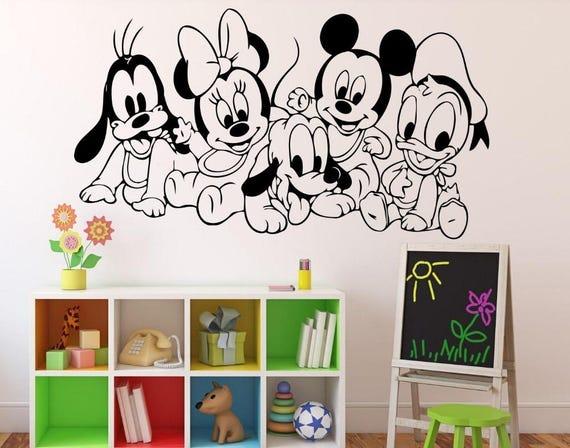 Baby Disney Characters Wall Decal - Nursery Room Decor - Kids Room Wall sticker - Nursery Wall Decal  - Home Decor - mickey minnie