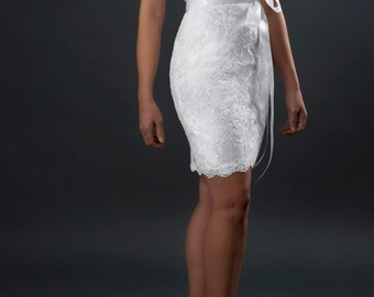 Short lace wedding dress, destination wedding dress, bridal gown