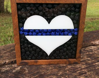 Thin Blue Line Shadow Box, Thin Blue Line Art, Thin Blue Line Decor, Thin Blue Line Wall Art, Police Officer Gift, Law Enforcement Decor