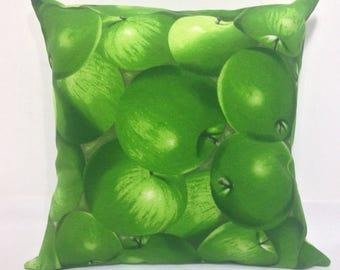 """Decorative pillow, """"GREEN APPLE"""", internal pillow + pillowcase, decorative pillow + cover, VINTAGE"""