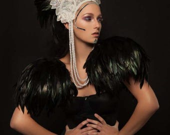 Black feather epaulettes. Huge feather shoulder pads. Perfect for Burning Man Festival or performance art. 'Black Swan'