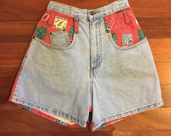 Vintage Bandana Print High Waisted Shorts