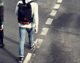 Black Backpack, Hipster Backpack, Canvas Backpack, Laptop Backpack, Roll Top Backpack, Large Backpack, Mens Backpack, Rolltop Backpack