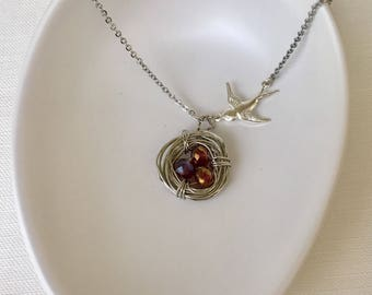 Bird's Nest Necklace - Wire wrapped with 3 maroon burgundy beads eggs - Mama swallow bird - Mother's Mom Jewelry Gift