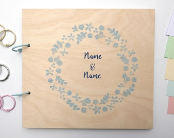 Memory album wedding wood flower wreath light blue can be customized