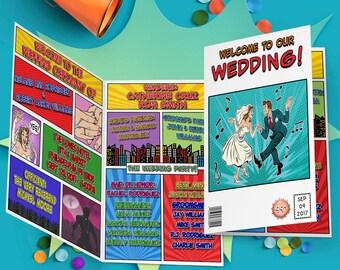 Comic Book Wedding Programs - Printable Wedding Programs - Comic Book Programs - Geek Wedding Programs - Nerdy Wedding Programs