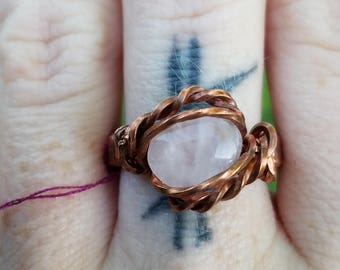 Copper wrapped rose quartz ring, size 8