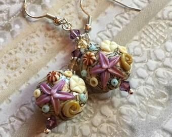 Sand Color SRA Lampwork Earrings, Lampwork Earrings, Lampwork Jewelry, Starfish Earrings, Mothers Day, Gift For Her, SRA Lampwork