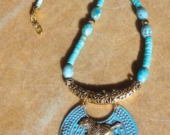 Turquoise-agate Zebra Necklace Set