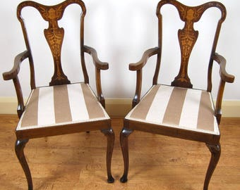 Stunning Pair of Stamped Edwardian Marquetry Inlaid Elbow Chairs / Side Chairs/ Armchairs