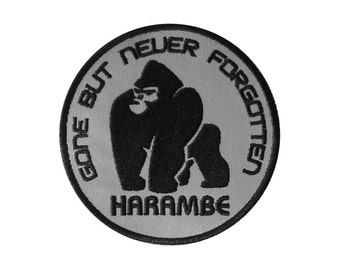 Harambe Embroidered Patch *Iron-On or Sew-On*