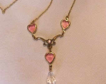 Pink Hearts and Clear Crystal Necklace, Estate Find