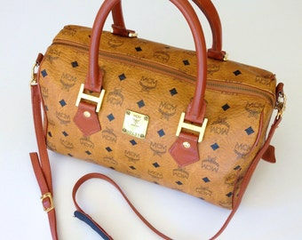 Mark Down 20% Discount!!! Vintage MCM Germany Cognac Visetos Brown Monogram Pattern Speedy 32 Two Ways Handbag With Long Strap