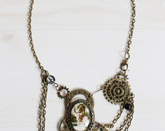 Steampunk chain necklace with cameo handmade