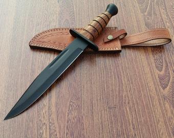 15 Survival Bowie knife . Black Powder Coating Knife