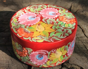 Burgundy box Pink and Yellow flowers Ukrainian Kalina Petrykivka hand painted Wooden gift for women Gift for her Gift for Easter