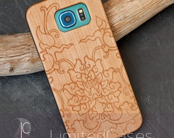 """Case for Samsung Galaxy S6 with cherry Edition, laser-engraved """"Lotus"""""""