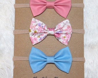 Pink and blue floral bow headband set
