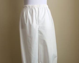 Pioneer Pantaloons or Bloomers, Trek Pantaloons or Bloomers, Pilgrim Pantaloons or Bloomers, White Pantaloons, White Bloomers
