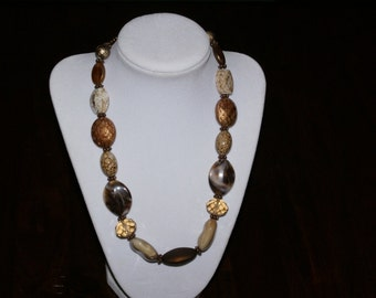 Cream and brown handmade beaded necklace