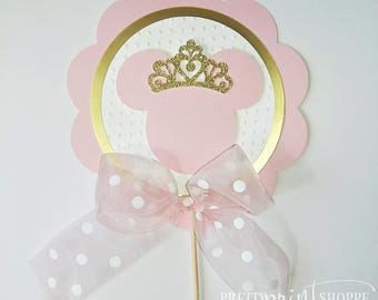 Minnie Mouse centerpiece, princess minnie mouse toppers, gold and pink minnie mouse decoration, crown minnie mouse centerpieces (set of 2)