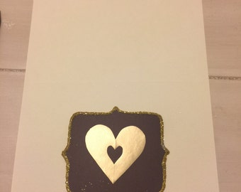 Handmade Plum with Gold Open Heart Notecards