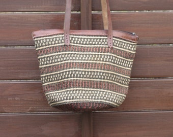 sisal tote bag-sisal shoulder bag-jute shopper market bag-sisal leather bag-vintage sisal beach bag-wicker beach tote bag-boho sisal bag