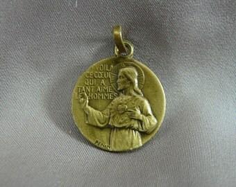 Jesus Sacred Heart Medal by Penin - French Vintage Religious Scapular Medal Pendant Charm by Penin - Communion Baptism Gift