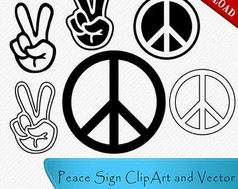 Peace Sign Silhouette, Peace Sign Clipart, Peace Sign Vector, Peace Finger, Clipart, Cut, Vector digital download, svg, dxf, eps, png