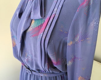 1980s sheer purple lilac  secretary dress medium