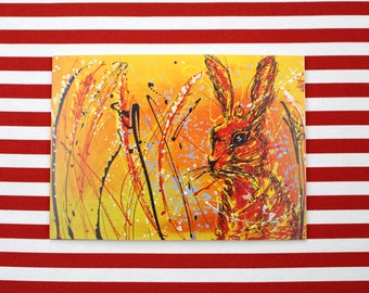 Hare, Contemporary Blank Greetings Card, 5 x 7 inches