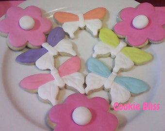 12 Butterfly Decorated Sugar Cookies Baked Goods Sugar Cookies Handmade Cookies Decorated Cookies Butterflies and Flower Cookies Spring