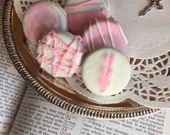 Girls Baptism Favors Oreo Cookies, Chocolate/Dipped Oreo's, Girl Communion Cookies, Religious Cookies, Girls Party Favors, Pink Love Treats