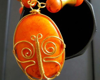 Orange Magnesite Pendant with Butterfly Wirework, with chain, butterfly necklace